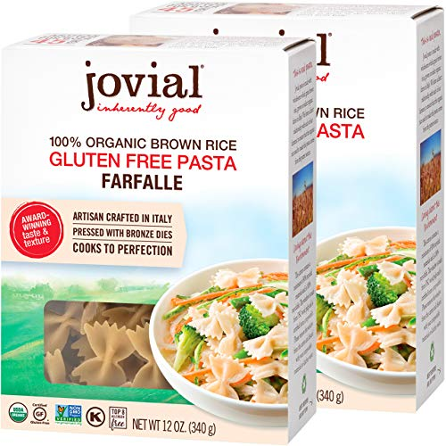 Jovial Farfalle Gluten-Free Pasta | Whole Grain Brown Rice Farfalle Pasta | USDA Certified Organic | Non-GMO | Lower Carb | Kosher | Made in Italy | 12 oz (2 Pack)