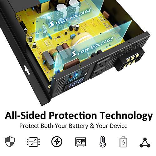 WZRELB 3000watt Pure Sine Wave Inverter 12V DC to 120V AC 60HZ with LED Display Car Inverter Generator (RBP300012B1)