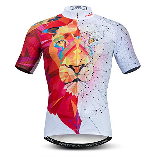Men's Cycling Jerseys Tops 3D Print Biking Shirts Short Sleeve Full Zipper Bicycle Jacket Pockets XL