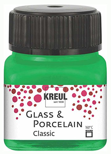 Kreul 16223 - Glass und Porcelain Classic, brillante Glas- und Porzellanmalfarbe auf Wasserbasis, schnelltrocknend, deckend, 20 ml im Glas, grün