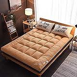 XLBHSH Colchón de Piso colchón futón japonés espesando Tatami Estera Almohadilla para Dormir Rodillo Plegable Rollo Plegable colchón Tumbona Cama sofás y sofás,Beige,Twin