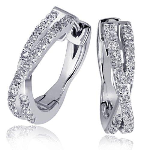 Goldmaid Damen-Creolen Ohrringe Linien 585 Weißgold 60 Diamanten 0,24ct Brillianten-Ohr-Schmuck