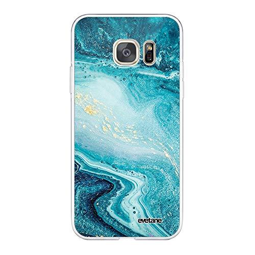 Evetane - Carcasa para Samsung Galaxy S7 360 Integral, Carcasa Delantera Trasera, Resistente, protección sólida, Funda Transparente, Azul nacarado mármol