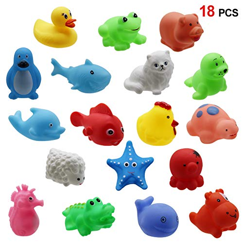 Happy Trees 18 Pack Animals Squirter Bath Toy Set for Toddlers Kids, Colorful Assorted Characters