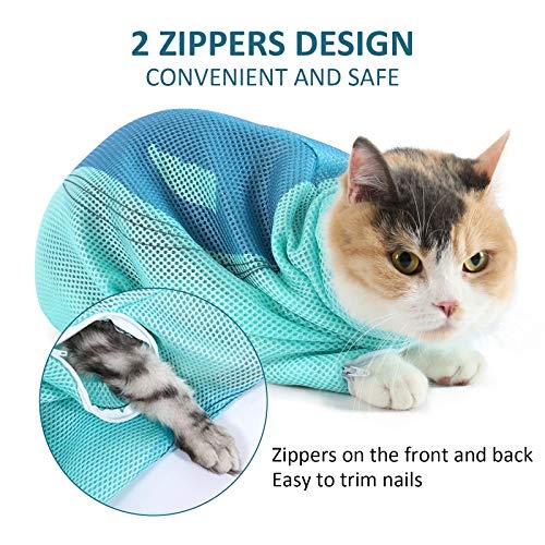 PETTOM Katzenpflegetasche Kratzfest, Verstellbarer Katzenwaschbeutel, Netztasche für Katzen zum Baden und Krallenpflege, Duschtasche Katzen aus Polyester (Blau)