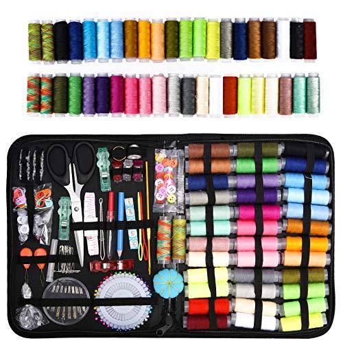 Kit Costura,330 pcs Kit de Costura Accesorios de Costura Premium Suministros de Costura avanzados de Bricolaje Set de Costura Portátil Basico Set de Costura Portátil Costurero para Hogar,Viajes