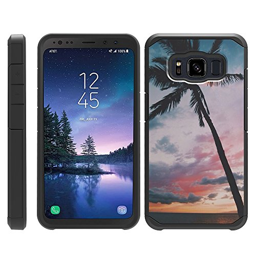 turtlearmor | Kompatibel für Samsung Galaxy S8 Active Schutzhülle | G892 | Slim Fit Dual Layer Hard Armor Hybrid Shell Fall -, Palm Tree Sunset