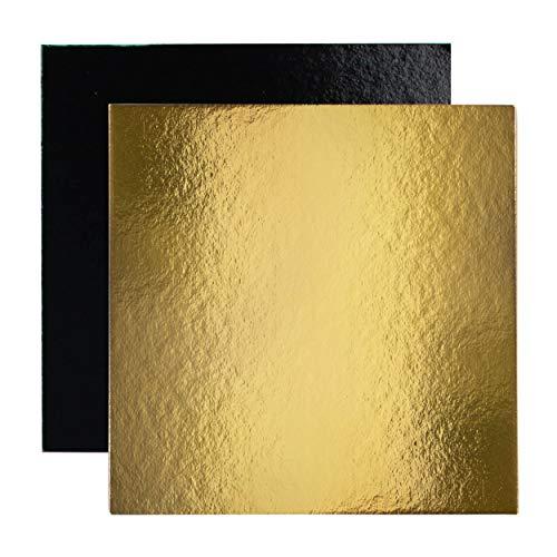 Lot de 10 Supports à Gâteau Carrés en Carton Couleurs et Dimensions au choix (Or/Noir, 20 cm)