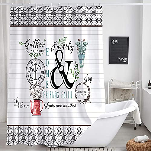 JAWO Modern Farmhouse Shower Curtain Flower Red Heart Love Family Home Bathroom Curtains Funny Boho Shower Curtains 69x70 Inches