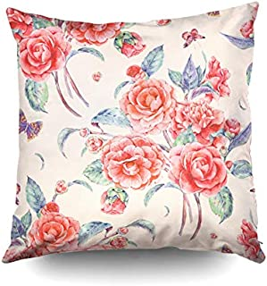 KIOAO LargeThrowPillowCovers,Square Throw Pillowcase Covers Standard Vintage Garden Watercolor Natural Pattern with Red Flowers Camellia and Butterflies Botanica Printed with Both Sides 20X20Inch
