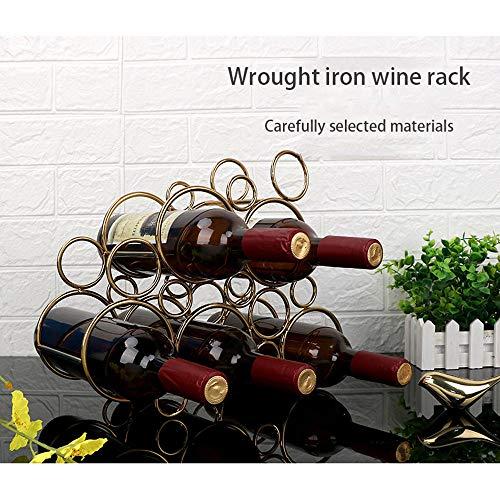 HUAA Botellero Apilable Botellero apilable Horizontal para Botellas de Vino,Soporte para Botellas de Vino de Metal y Cobre,Soporte de Almacenamiento Libre,Estante para Botellas de Vino