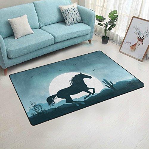 yibaihe Bereich Teppiche Teppiche Fußmatten Fußmatten Rutschfest Waschbar mit Cartoon Moonlight Pferd für Wohnzimmer Schlafzimmer Eingangstür Innenbereich 153 x 100 cm