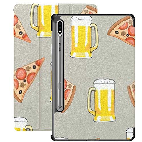 Funda Galaxy Tablet S7 Plus de 12,4 Pulgadas 2020 con Soporte para bolígrafo S, patrón sin Costuras Taza Cerveza Pizza Slice Funda Protectora con Soporte Delgado para Samsung