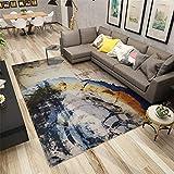alfombra juegos bebe gris Alfombra de estilo retro azul abstracto antiguo patrón alfombra antideslizante de varios tamaños alfombras para terrazas 80X120CM alfombra para salon 2ft 7.5''X3ft 11.2''