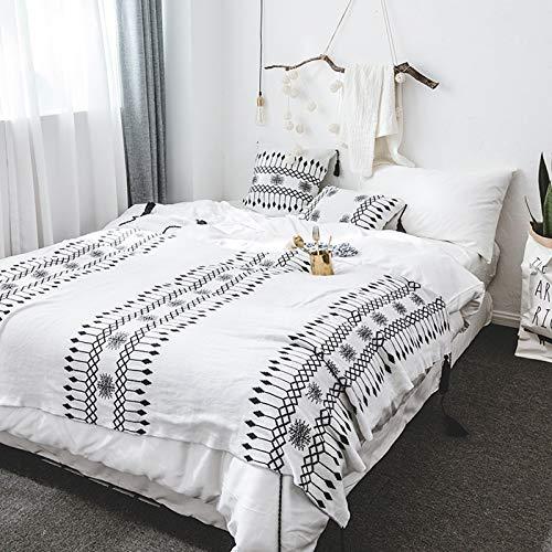 Knitting Manta hogar Ropa Suave Estilo Simple Manta nórdica Borla Blanco y Negro Adecuado para el Dormitorio Sofá, Tienda de Coche y Funda de Almohada a Juego