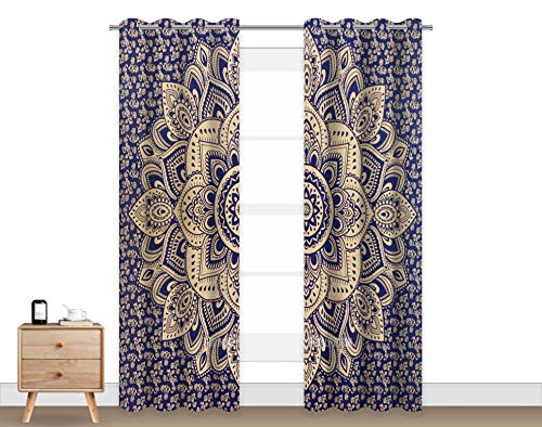 Abaysto Mandala Blackout Curtains, Passion Ombre Blue Indian Hippie Bohemian Blackout Curtain Panel Grommet Top Blackout Drapes 84 inch Length