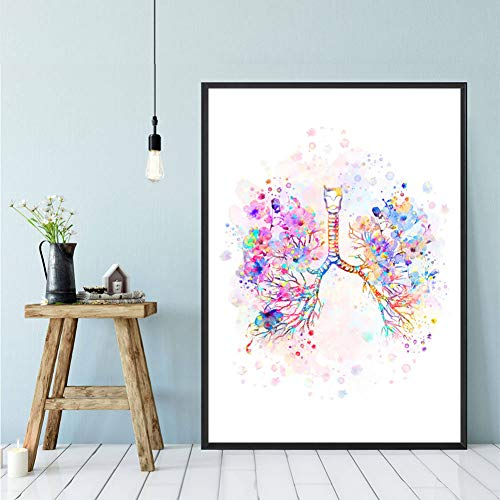 Canvas Decorative Prints Lungs Watercolor Art Poster Medical Anatomy Wall Art Print Canvas Painting Anatomical Medicine Wall Picture Doctor Office Decor-50x70cm