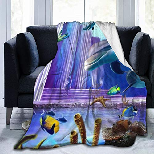 AIKIBELL Ultra-Soft Micro Fleece Blanket,3D Oceanic Dolphins Turtle Fish Coral Background,Home Decor Warm Throw Blanket for Couch Bed,60'X 50'