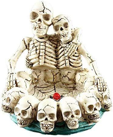 Suytan Cenicero Cenicero de Halloween Cenicero de Calaveras Dobles Resina Herramienta de Fumar Espeluznante Creativa Festival Decoración Bar Adorno,Color,Talla