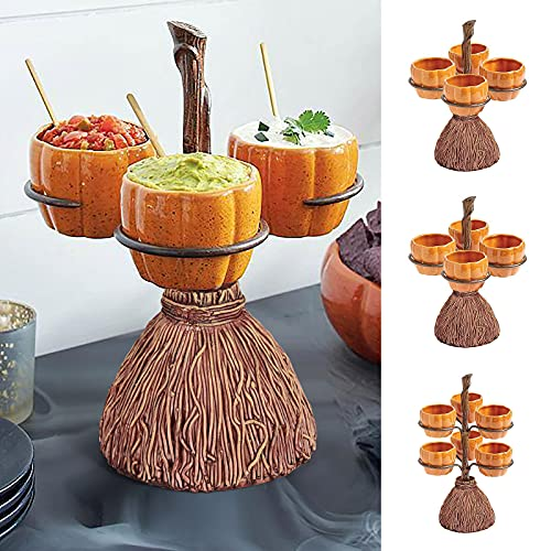 Halloween Pumpkin Snack Bowl Stand - Halloween Decor Snack Basket,Candy Holder Bowl,Perfect for Serving Snacks,Salad,Dessert,Halloween Party Favor Supplies,Collapsible Party Trays (3 Bowls)