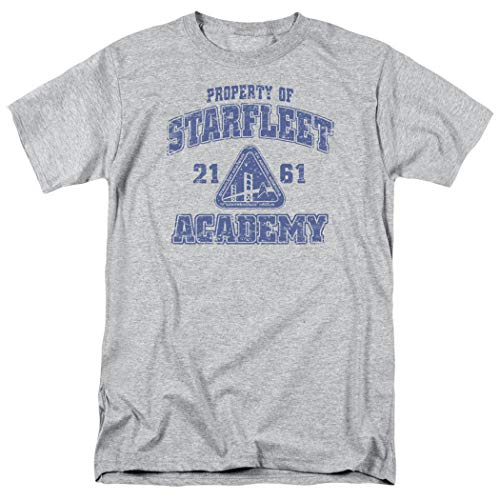 Popfunk Star Trek Distressed Starfleet Academy T Shirt & Stickers (Small) Athletic Heather