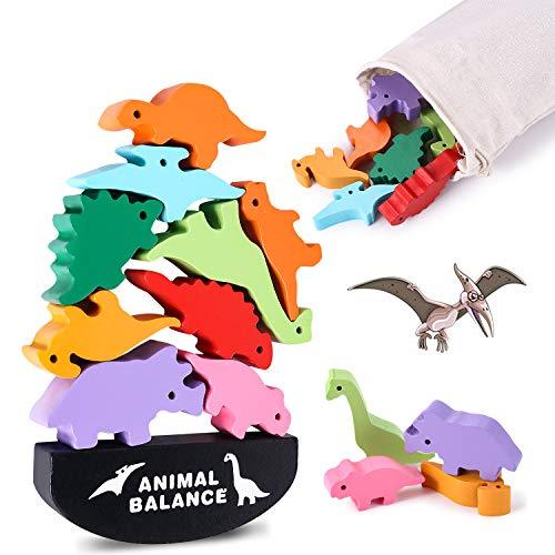 Toys for 4 5 6 7 Year Old Boys, Stacking Dinosaur Toys for Kids, Wooden Balance Blocks for Pre-Schoolers Learning Fine Motor Skills, Best Christmas and Birthday Gifts for Children