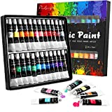 Acrylic Paint Set 24 Colours 12ml, Non Toxic Non Fading, Rich Pigment for Kids, Adults, Beginner & Professional Artists