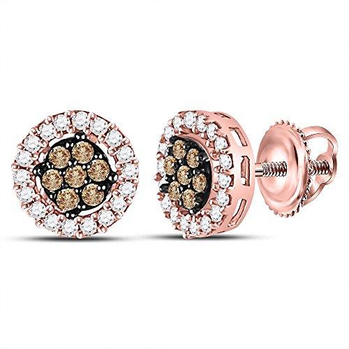 10k Rose Gold Chocolate Brown Diamond Flower Cluster Screwback Stud Earrings (1/4 Cttw)