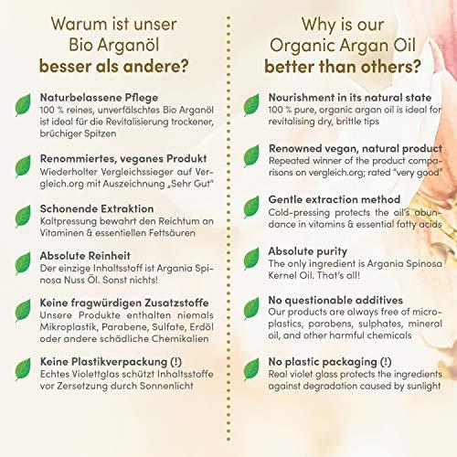 Del Decus Enterprises Ltd. Bio arganöl vegan kaltgepresst - 100ml in lichtschutz glas-flasche - anti-aging - feuchtigkeitspflege für junge haut gesicht haare & nägel - satinnaturel bio naturkosmetik
