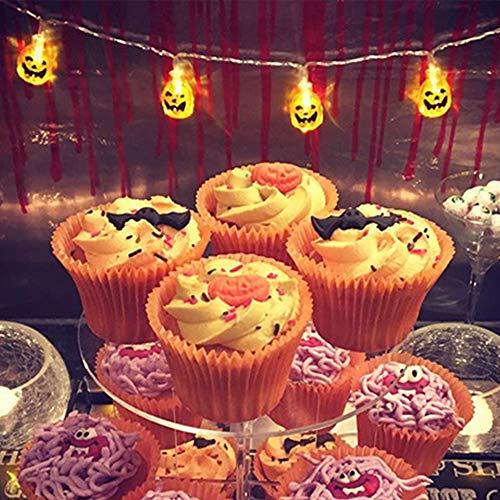 QPEY Battery Operated LED Fairy String Lights 3D Pumpkin 10 LEDs Halloween Decoration Light