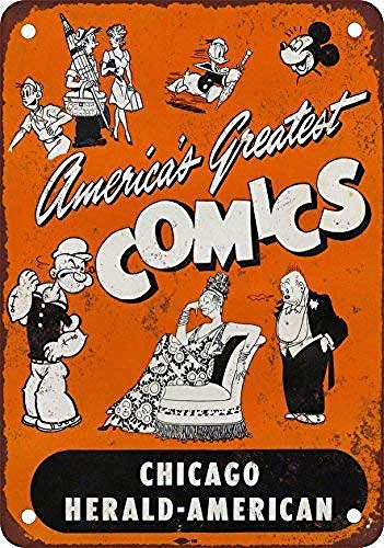 NOT Chicago Herald-American Comicsdise Blechschild Retro Blech Metall Schilder Poster Deko Vintage Türschilder Schild Warnung Hof Garten Cafe Toilette Kneipe Club Geschenk