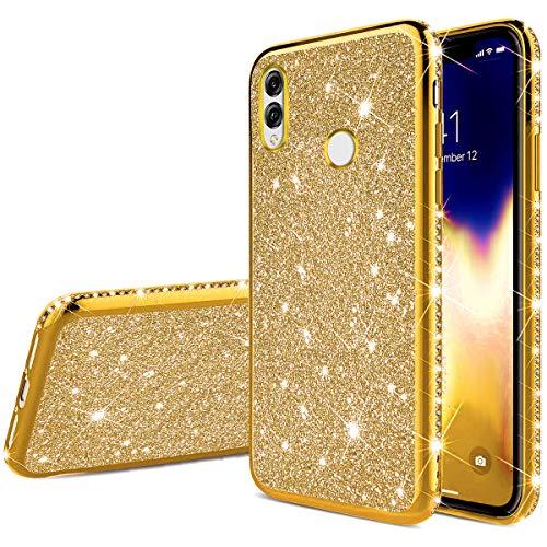 JAWSEU Compatible avec Huawei Nova 3 Coque Silicone TPU Glitter Paillette Brillant Ultra Mince Diamant Strass Case Cristal Clair Flexible Soft Gel Bumper Case pour Huawei Nova 3,Or