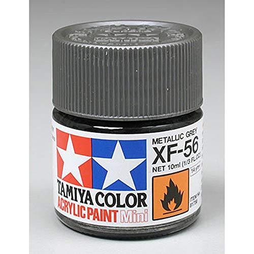 Tamiya 81756 - Pintura Acrílica Mini, Mate Gris Metalizado Fraso de 10ml, XF-56