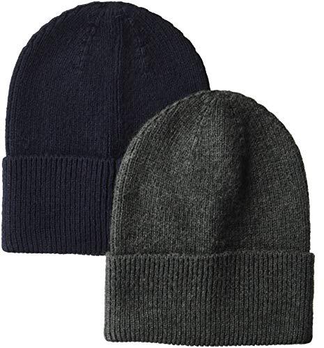 Amazon Essentials Men's 2-Pack Knit Beanie Hat, Navy/Gray Heather, One Size