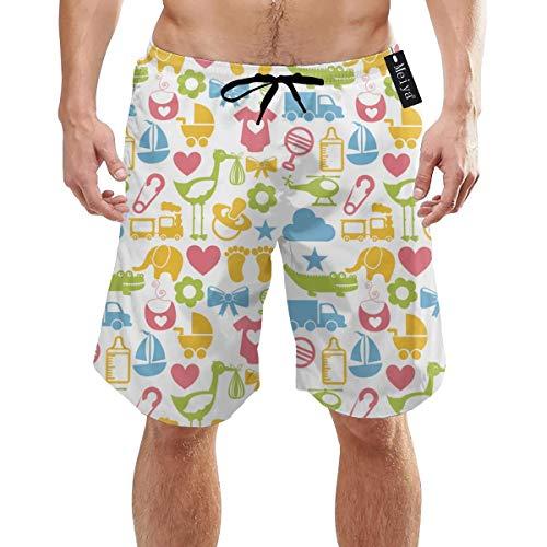 Alysai Baby Icons Over White Herren Jungen Kurze Badehose mit Mesh-Futter Schnelltrocknende Herren-Badeanzüge Badeshorts XL