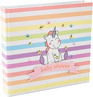 Happy Homewares Cute and Colorful Unicorn Baby Shower Photo Album with Pink Ribbon and Gold Stars Holds 50 4x6 Pictures