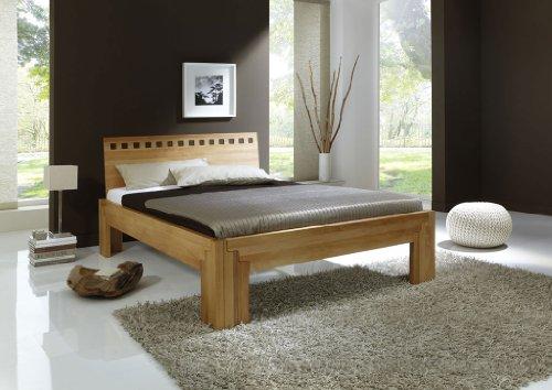 DaMi Holzbett Stella Plus B - Massivholz-Bett in Kernbuche - Metallfreies Stecksystem - Doppelbett, 180 x 200 cm