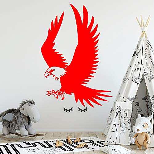 Ajcwhml Exquisite Adler Familie Dekoration Kinderzimmer PVC Aufkleber Kinderzimmer Dekoration bewegliches Wandbild rot 57cm x 83cm