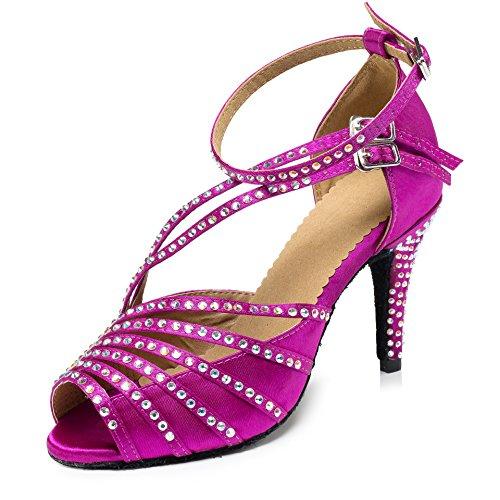 URVIP Women's PU Leather Heels Pumps Modern Rhinestone Latin Tango Shoes Cross Ankle Strap Buckle Dance Shoes LD092 Fuchsia 8 B(M) US