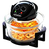 Schallen 17L 2 in 1 Deluxe Black & Glass Air Fryer Deep Fat Free Frying Healthy No Oil Halogen Cooker + Accessories Included