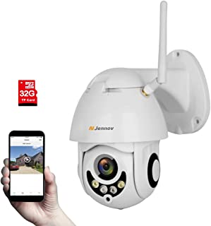 Jennov Wireless Security IP Camera, HD 1080P Wireless WiFi PTZ Camera 4X Zoom Home Video CCTV Surveillance Dome Cameras Outdoor Night Vision with Audio Pre-Installed 32G Micro SD Card
