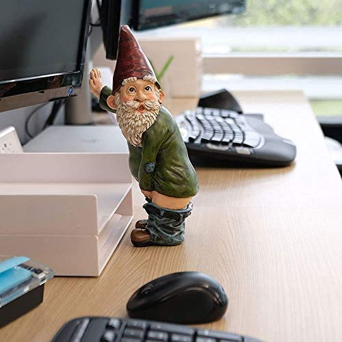 LIJUNJIE Garden Gnome Statue, Naughty Peeing Gnome, Funny Garden Elf for Lawn Ornaments Indoor or Outdoor Decorations