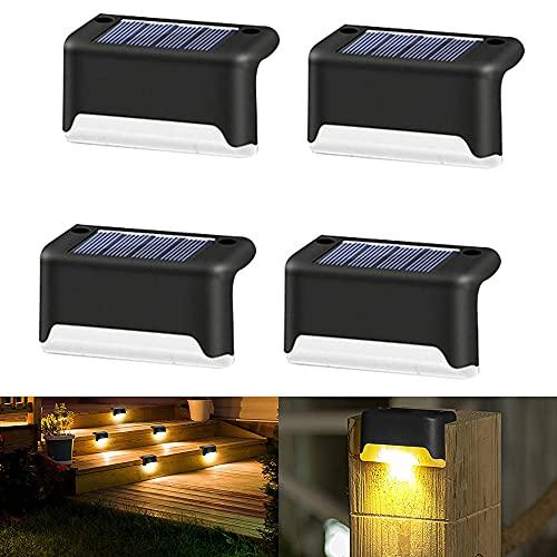 Solarlampen für Außen 4pcs Solarleuchte Aussen Solar Treppe Lampe Solar Deck Lichter im Freien Solarbetriebene Treppenlichter Wandleuchten Gartenlampe für Weg, Hof, Terrasse, Treppen, Stufen und Zäune