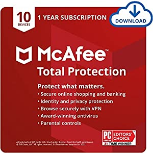 McAfee Total Protection 2022   10 Device   Antivirus Internet Security Software   VPN, Password Manager, Dark Web Monitoring & Parental Controls Included   1 Year Subscription   Download Code