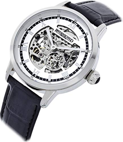 Riedenschild Automatik Uhr skelettiert Silber Schwarzes Lederarmband Miyota 8N40 Werk 42mm 5ATM