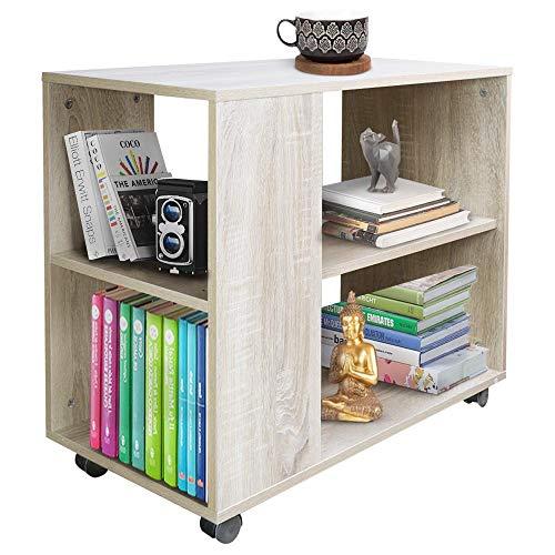 BAKAJI Libreria Bassa Scaffale 5 Ripiani con Ruote in Legno Melaminico Tavolino Laterale Divano Design Moderno per Soggiorno Salotto Casa o Ufficio (Beige)