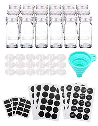 Lawei 18 Stück Gewürzgläser Quadratische Glasbehälter mit Metalldeckel, Etikette, Trichter für Tee Kräuter Gewürze, 118 ml