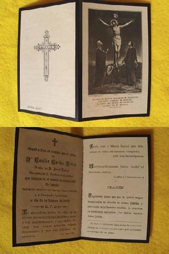 Antiguo Recordatorio Esquela - Old Reminder of Death : EMILIA CARLES TOLRÁ - Santa Cruz de Cabrils.
