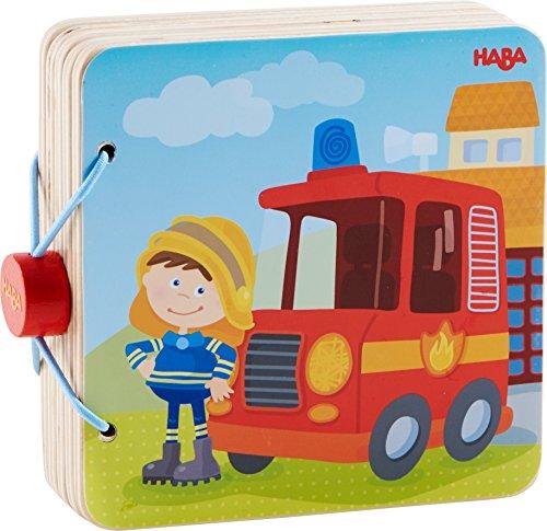 HABA 303776 - Holz-Babybuch Feuerwehr | Stabiles Holzbuch ab 10 Monaten| Leicht zu greifende Seiten aus Holz mit bunten Feuerwehrmotiven