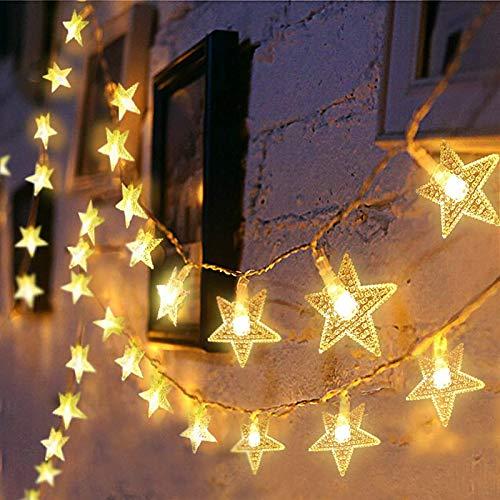 6M 40LED,Estrellas hadas luces,LED cortina cadena luces, Cadena de luces LED,LED Luces decorativas, fiesta, boda, balcón, decoración,Luces de Hadas,Navidad (G)